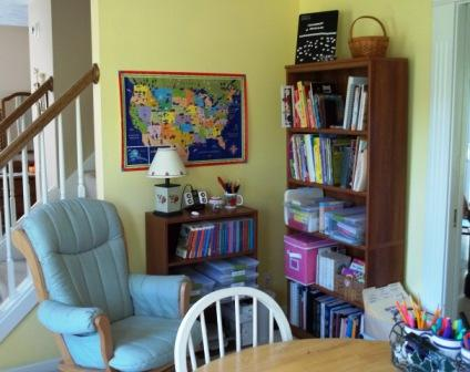 Homeschool learning room bookcase corner