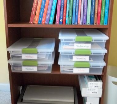 Homeschool learning room organizational boxes