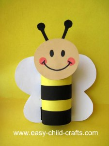 Bee made with toilet paper tube