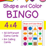 Shapes and Colors Bingo Game Cards in 4×4, 3×3 and 5×5 grids