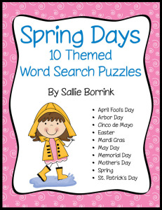 Spring Days - 10 Word Search Puzzles with Spring Holidays and Themes