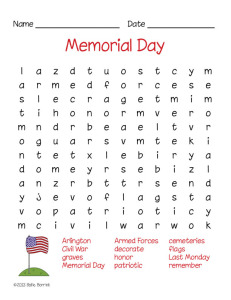 Free Memorial Day Word Search Puzzle