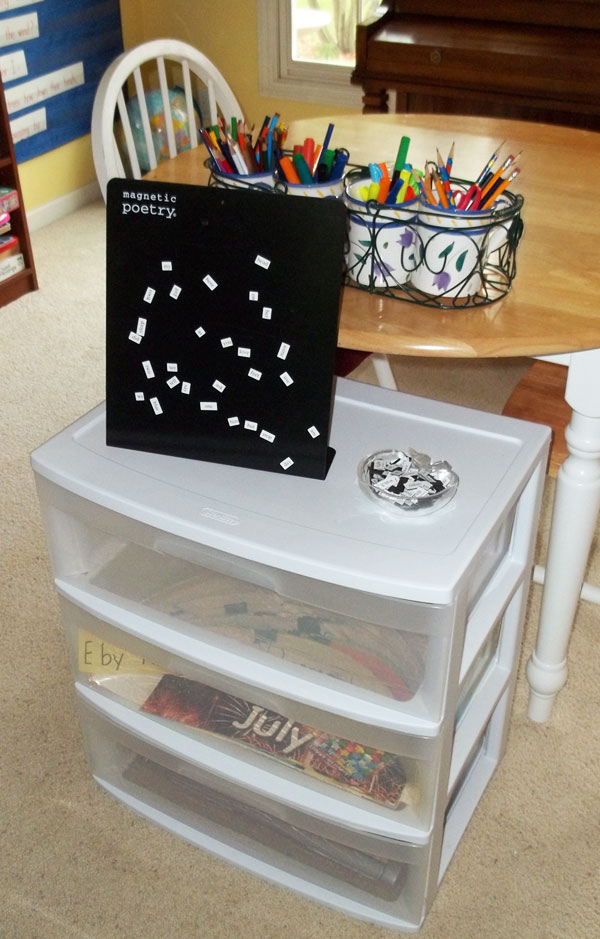 Storage Drawers in Homeschool Room