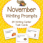 November Writing Prompts Task Cards – 84 Cards with Football, Turkey, Thanksgiving and First Thanksgiving Themes