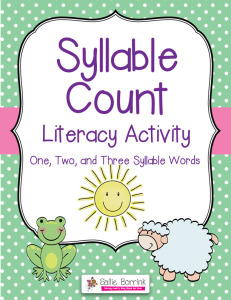 Syllable Sort and Count Literacy Activity with One, Two and Three Syllables