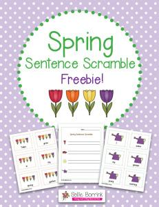 Spring Sentence Scramble Literacy Activity