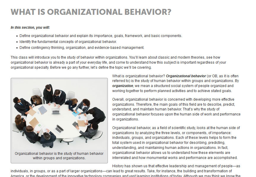 JumpCourse Organizational Behavior Written Content