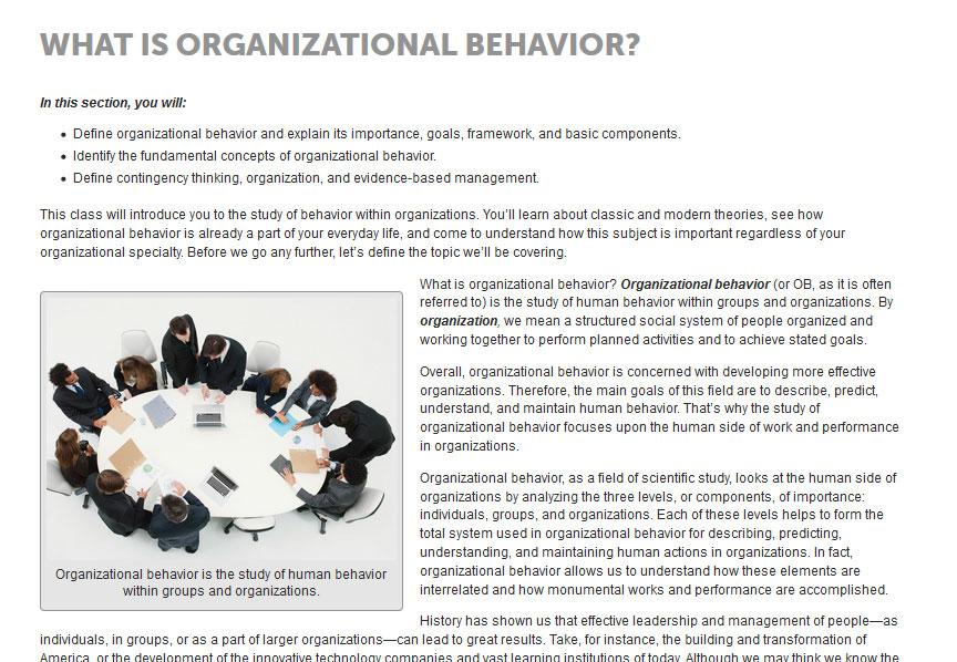 JumpCourse Organizational Behavior Written Content