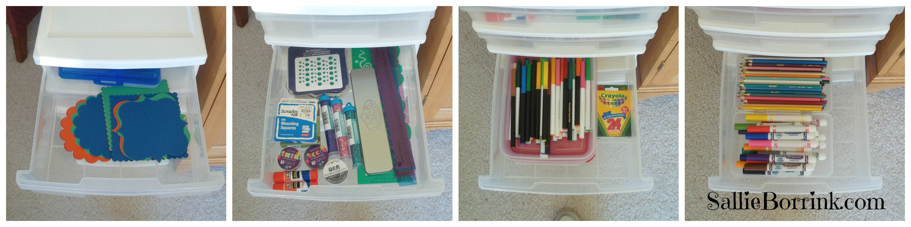 Notebooking Supplies in Drawers
