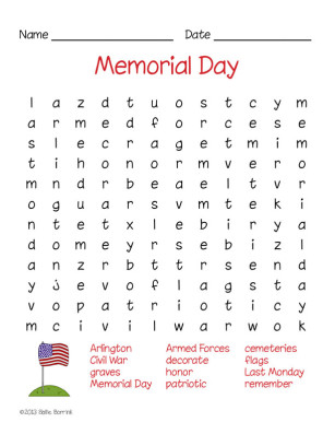 Free Memorial Day Word Search Puzzle - SallieBorrink.com