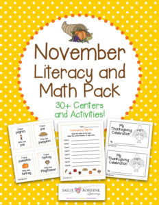 November Literacy and Math Pack - 30+ Centers and Activities including Thanksgiving