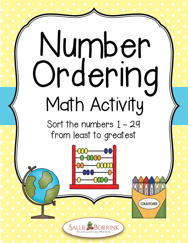 Number Ordering 1-29 Math Activity