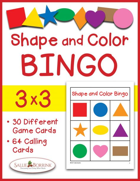 Shape and Color Bingo 3x3 Printables