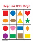 Shapes and colors bingo game cards 4x4 for 4x4 bingo template