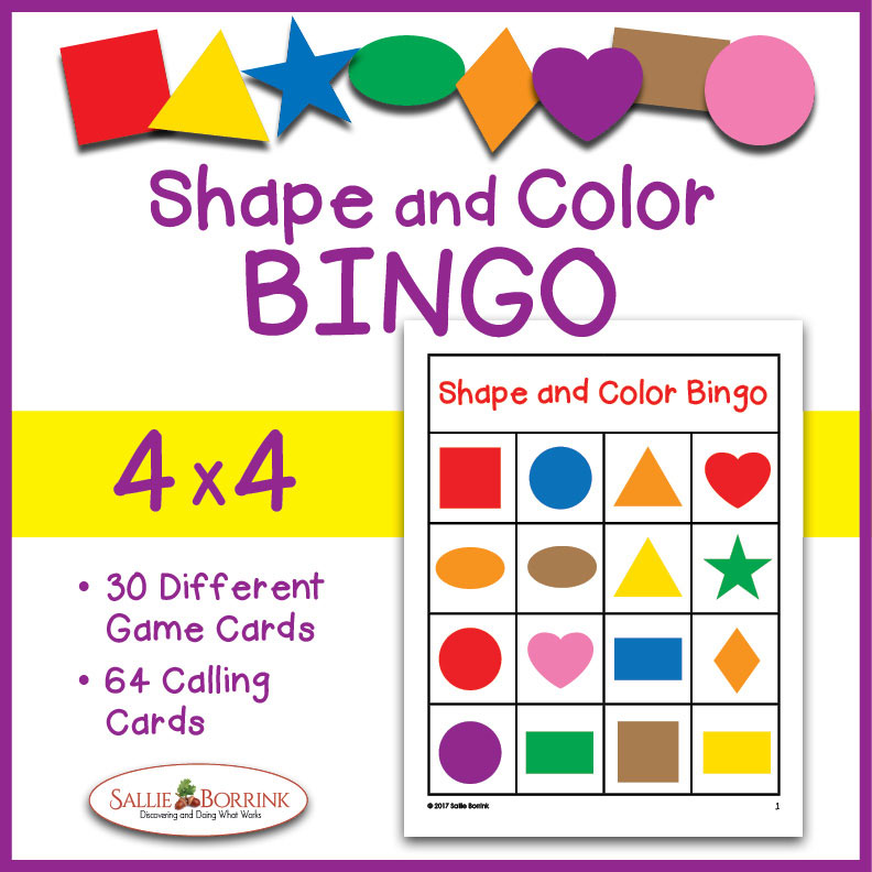 Shapes and Colors Bingo Game Cards 4x4
