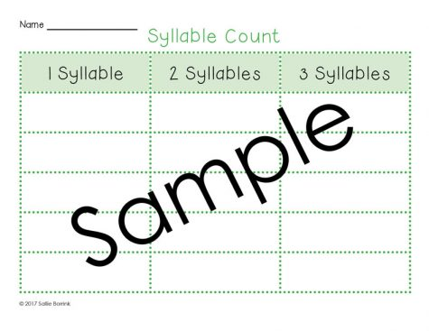 Syllable Count Literacy Activity 2