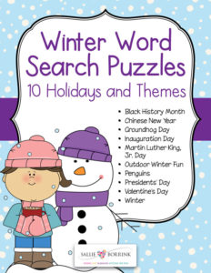Winter Word Search Puzzles