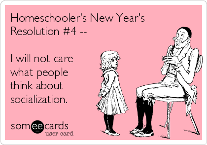 Homeschoolers New Years Resolution I Will Not Care What People Think About Socialization F on primary socialization