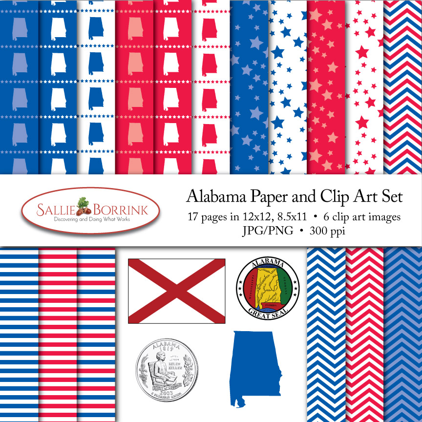 Alabama Paper and Clip Art Set