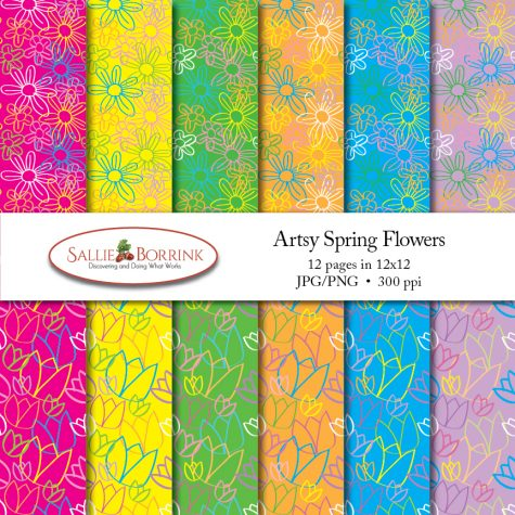 Artsy Spring Flowers Papers Set