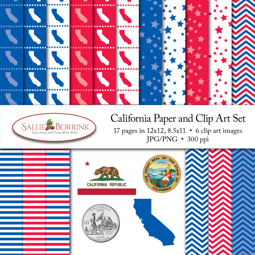 California Paper and Clip Art Set