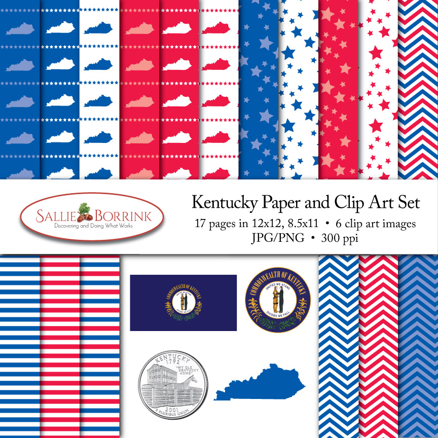Kentucky Paper and Clip Art Set