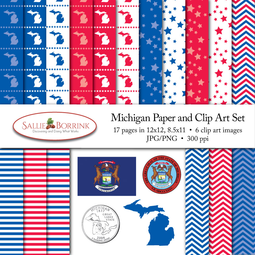 Michigan Paper and Clip Art Set