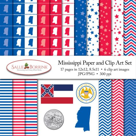 Mississippi Paper and Clip Art Set