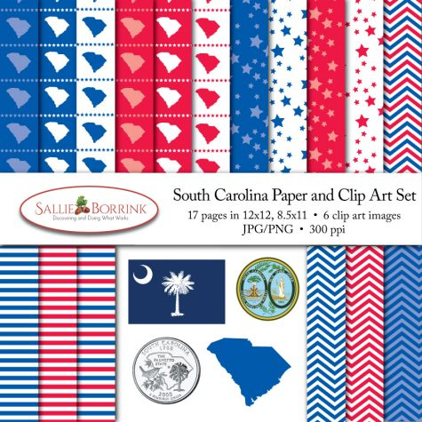 South Carolina Paper and Clip Art Set