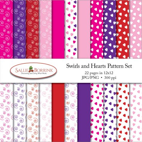 Valentine's Day Swirls and Hearts Pattern Set