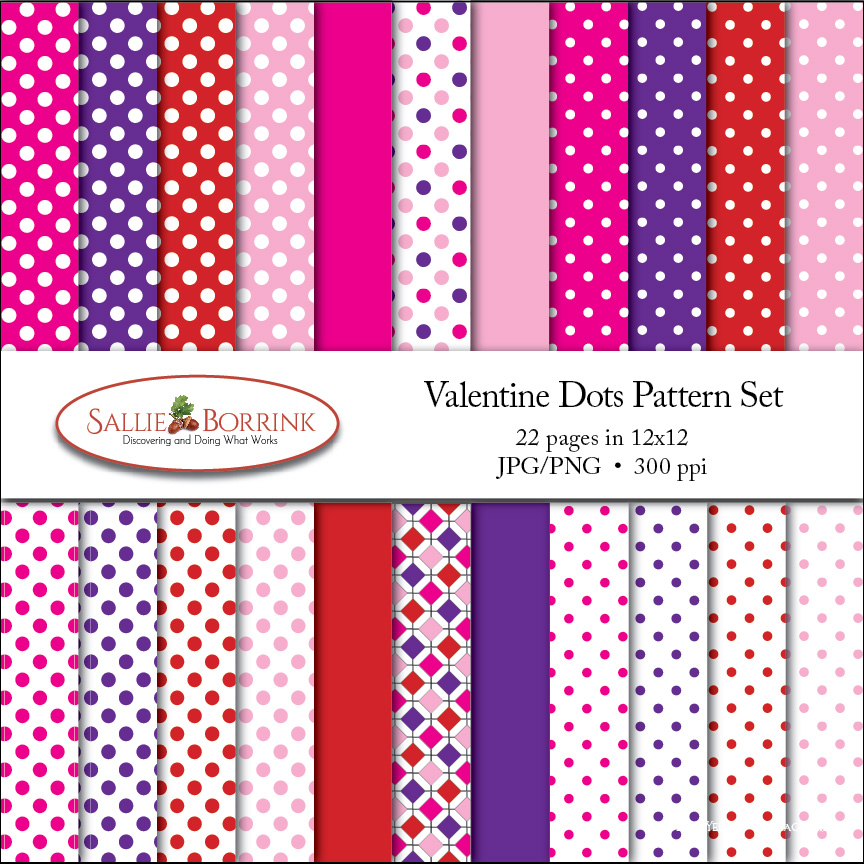 Valentines Day Polka Dots Digital Papers