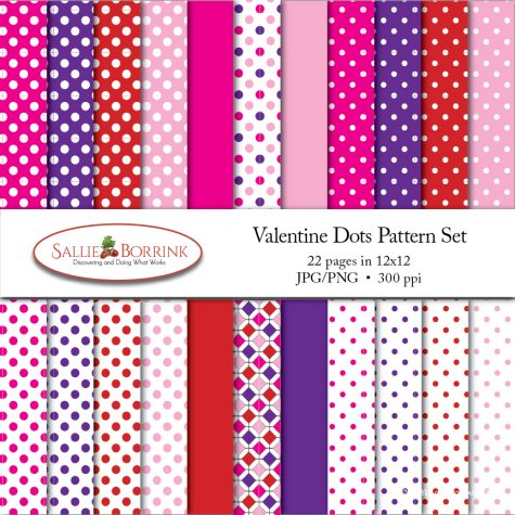 Valentine's Day Polka Dots Pattern Set