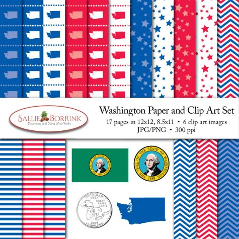 Washington Paper and Clip Art Set