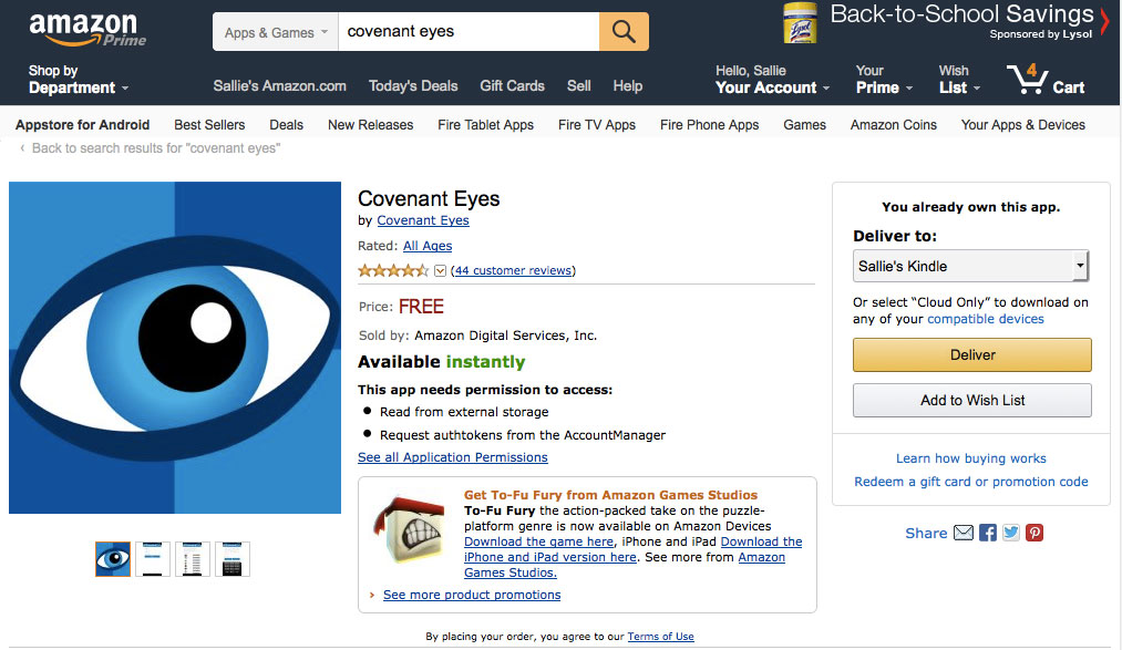 Covenant Eyes In Amazon App Store