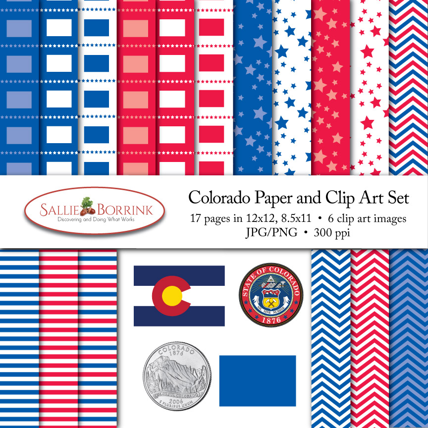 Colorado Paper and Clip Art Set