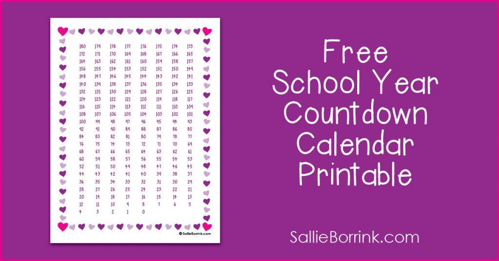 Free School Year Countdown Calendar Printable Sallieborrink
