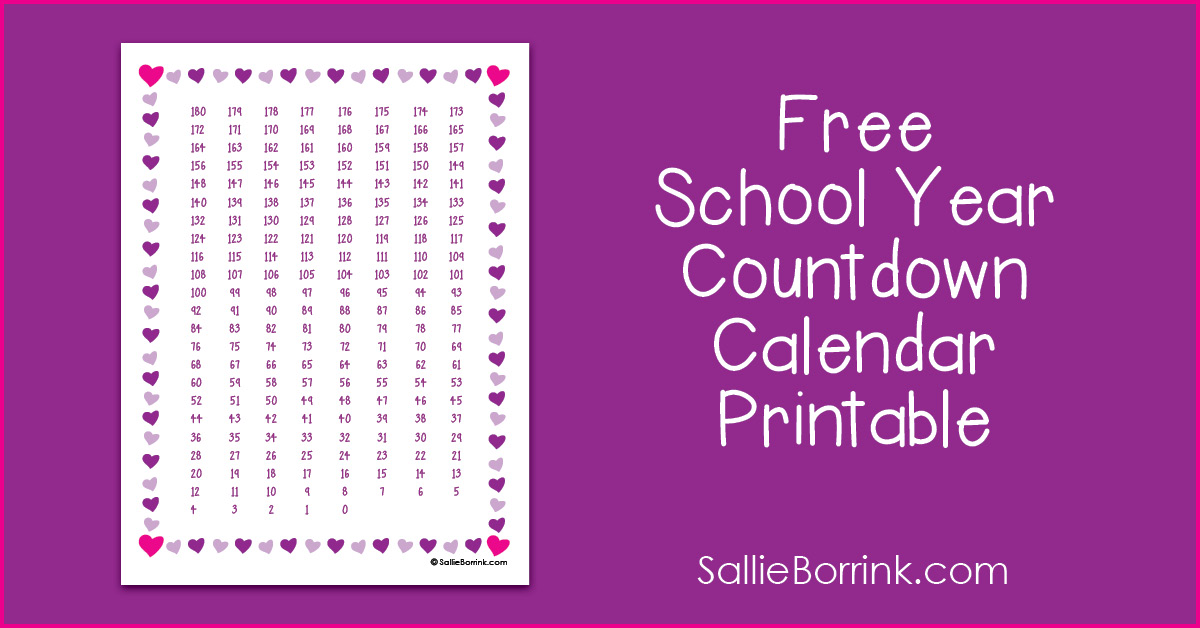 Free School Year Countdown Calendar Printable 2
