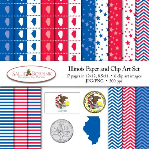 Illinois Paper and Clip Art Set