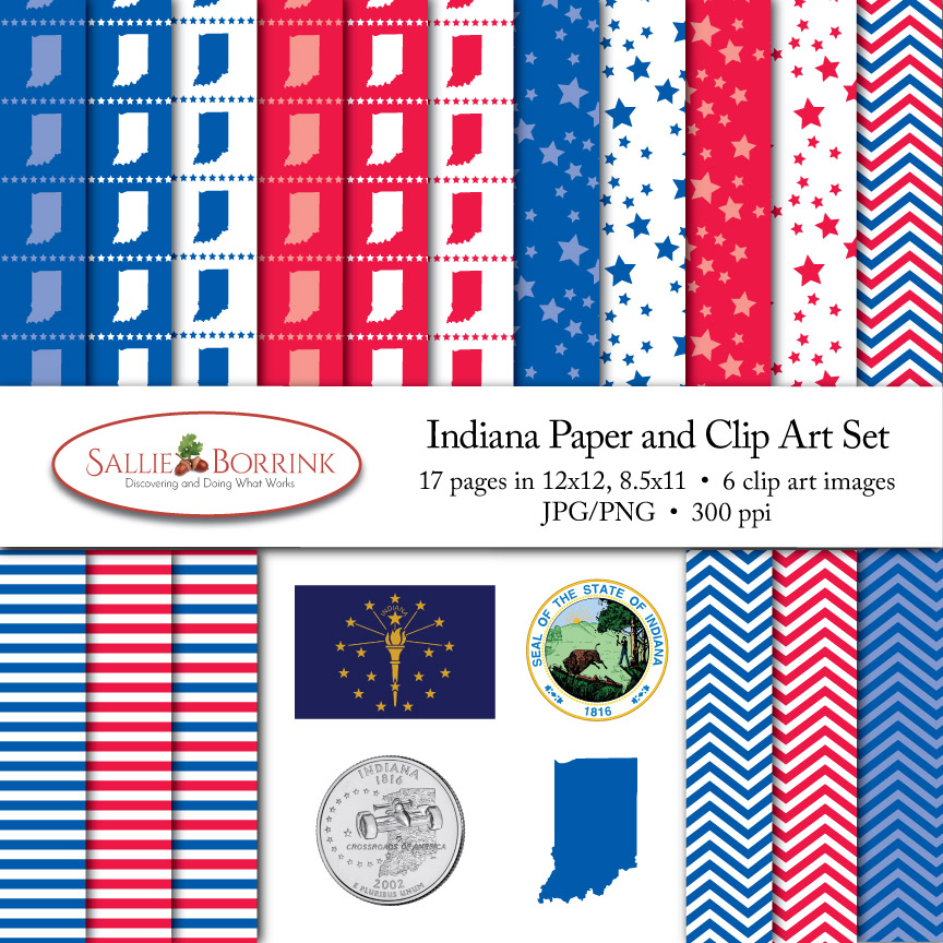 Indiana Paper and Clip Art Set