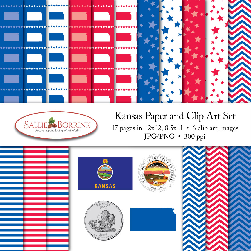 Kansas Paper and Clip Art Set