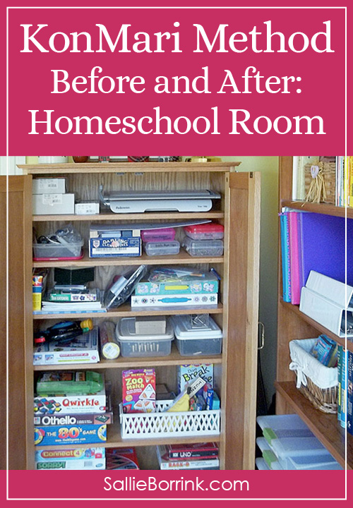 KonMari Method Before and After in Our Homeschool Room