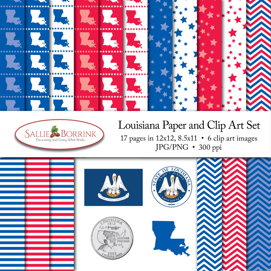 Louisiana Paper and Clip Art Set