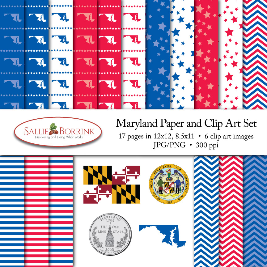 Maryland Paper and Clip Art Set
