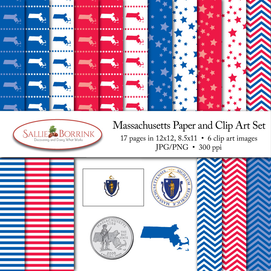 Massachusetts Paper and Clip Art Set