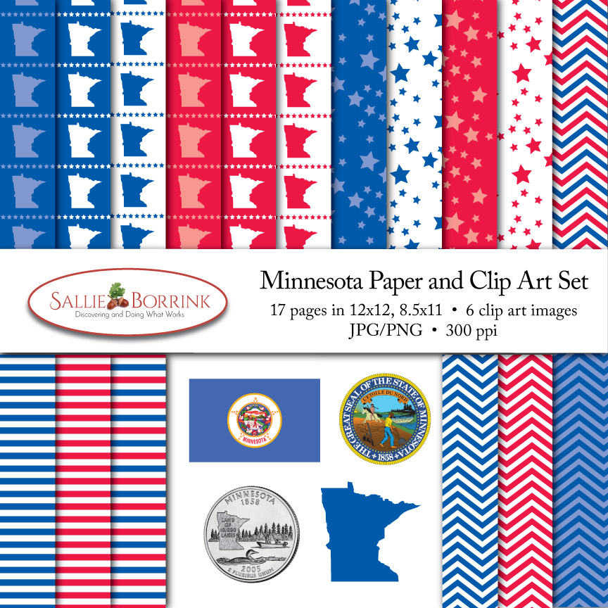 Minnesota Paper and Clip Art Set