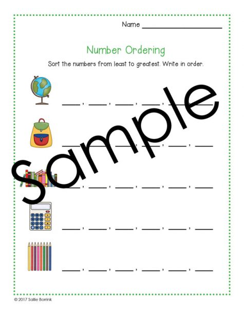 Number Ordering Math Activity 0-999 1