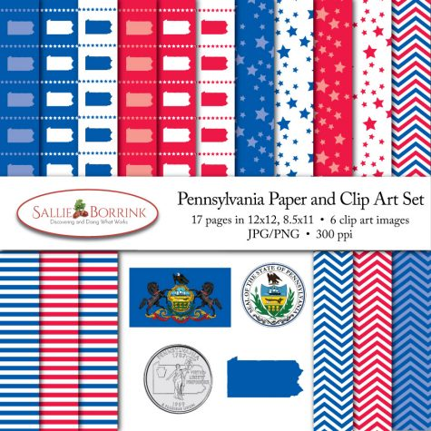 Pennsylvania Paper and Clip Art Set
