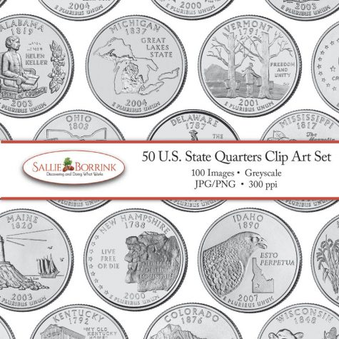 US State Quarters Clip Art Set