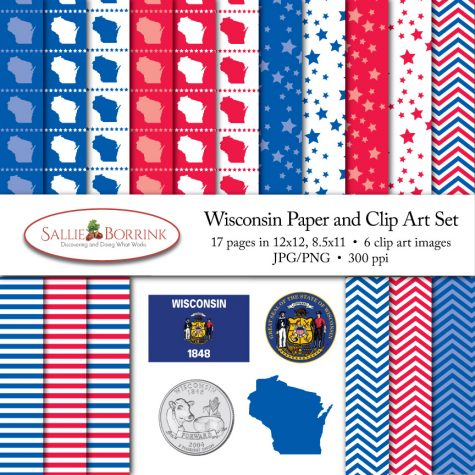 Wisconsin Paper and Clip Art Set