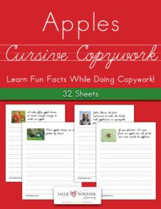 Apples Fun Facts Cursive Copywork